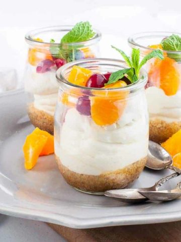 Mini No-Bake Cranberry Orange Cheesecake Mini No-Bake Cranberry Orange Cheesecake in tasting cups