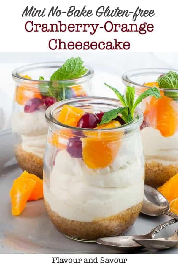 Mini Gluten-Free no-bake Cranberry Orange Cheesecake in small glasses