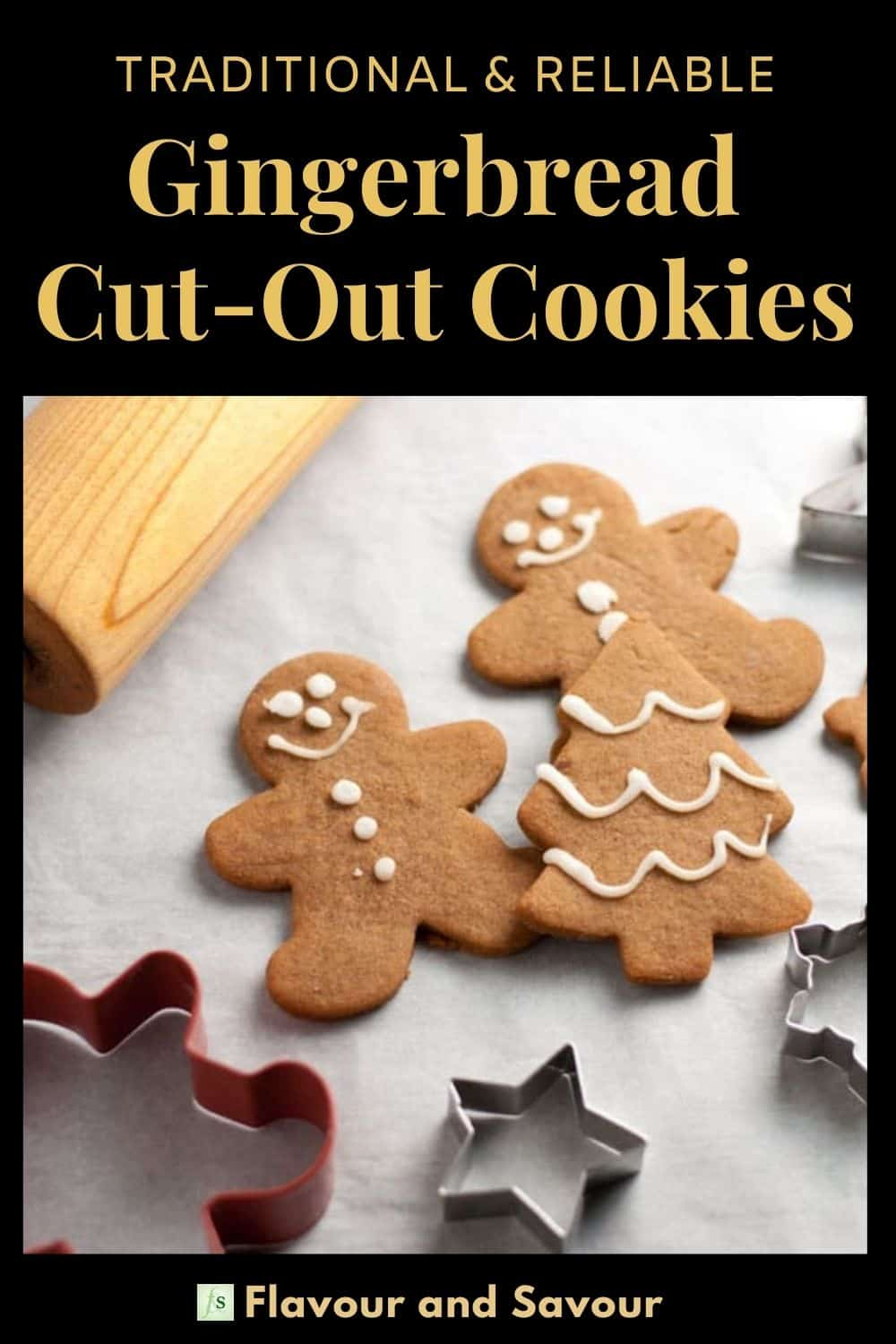 image with text for Gingerbread Cut-Out Cookies