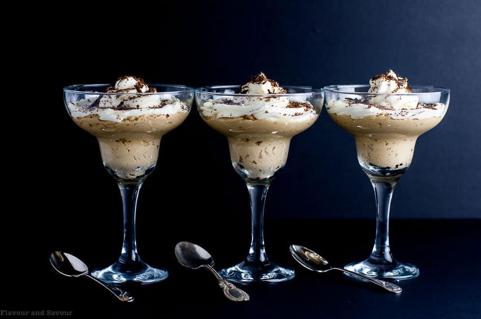 Creamy Ricotta Coffee Mousse in 3 dessert glasses