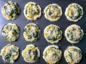Mini Spinach Artichoke Tarts ready for the oven