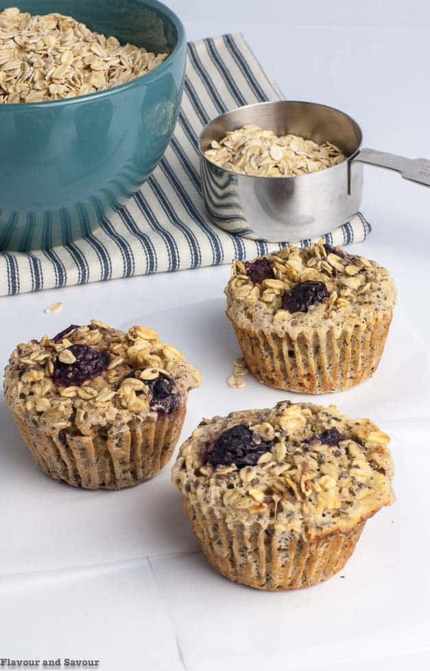 3 Cherry Vanilla Baked Oatmeal Cups