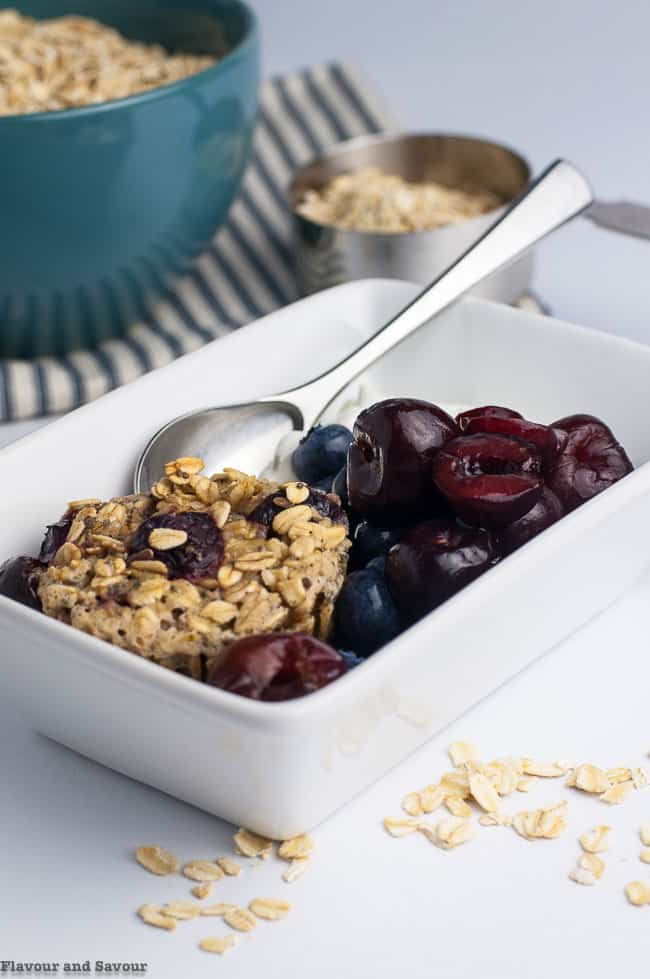 Cherry Vanilla Baked Oatmeal recipe with cherries and blueberries