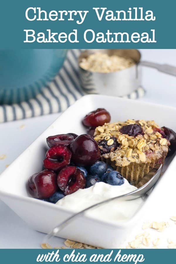 Cherry Vanilla Baked Oatmeal with Chia and Hemp title