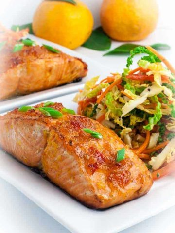 Crunchy Cabbage Coleslaw served with Citrus Glazed Baked Salmon