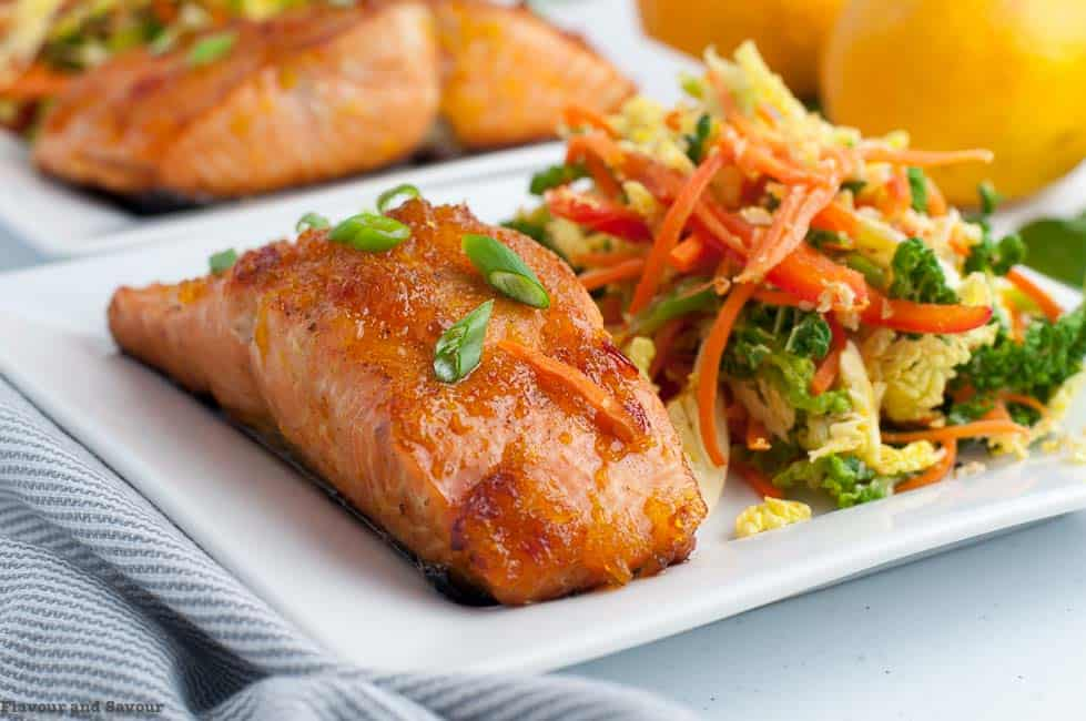 Citrus Glazed Baked Salmon with Sake served with crunchy veggies