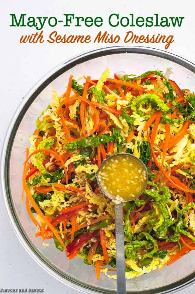 Mayo-Free Crunchy Cabbage Coleslaw with Sesame Miso Dressing title