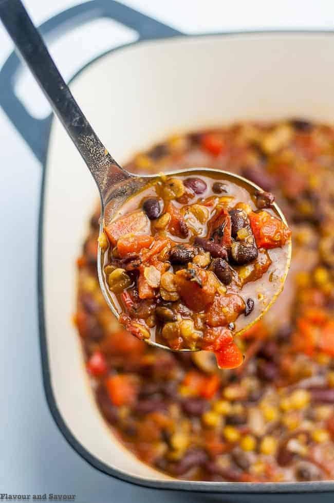 Instant Pot Vegan Chipotle Chili in a Dutch oven