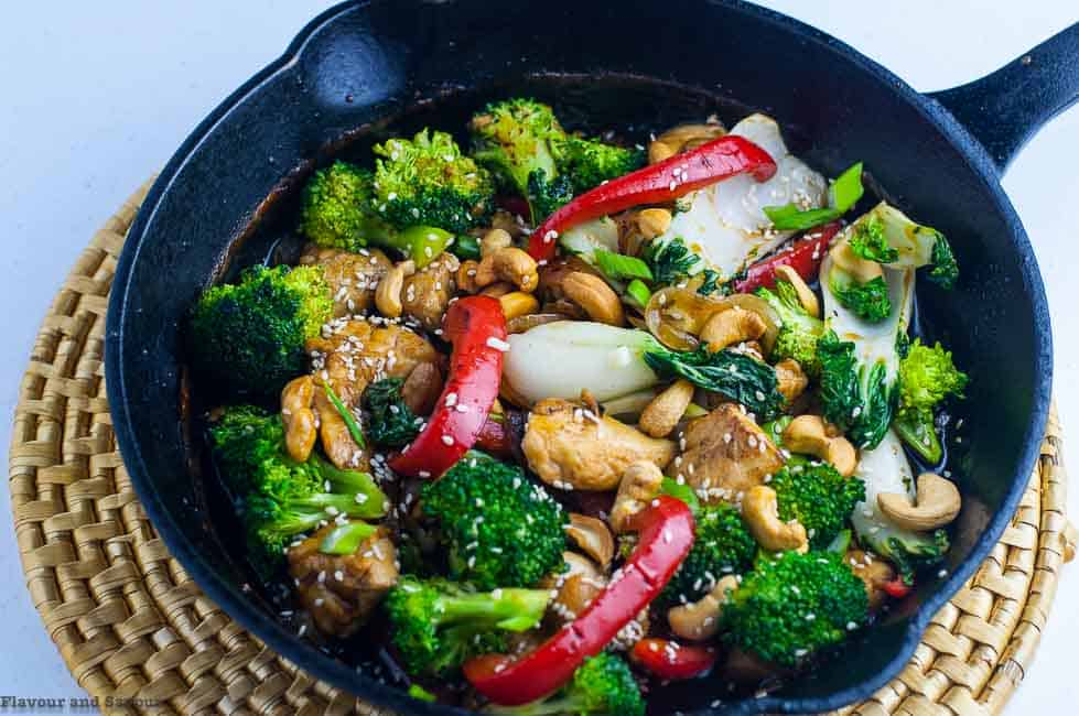 Japanese Chicken Stir Fry garnished with cashews and sesame seeds