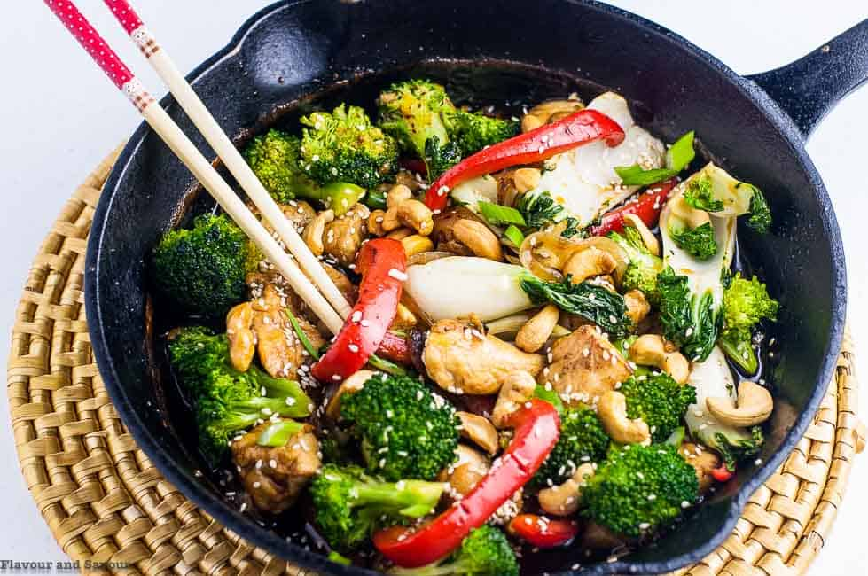 Japanese Chicken Stir Fry with chopsticks