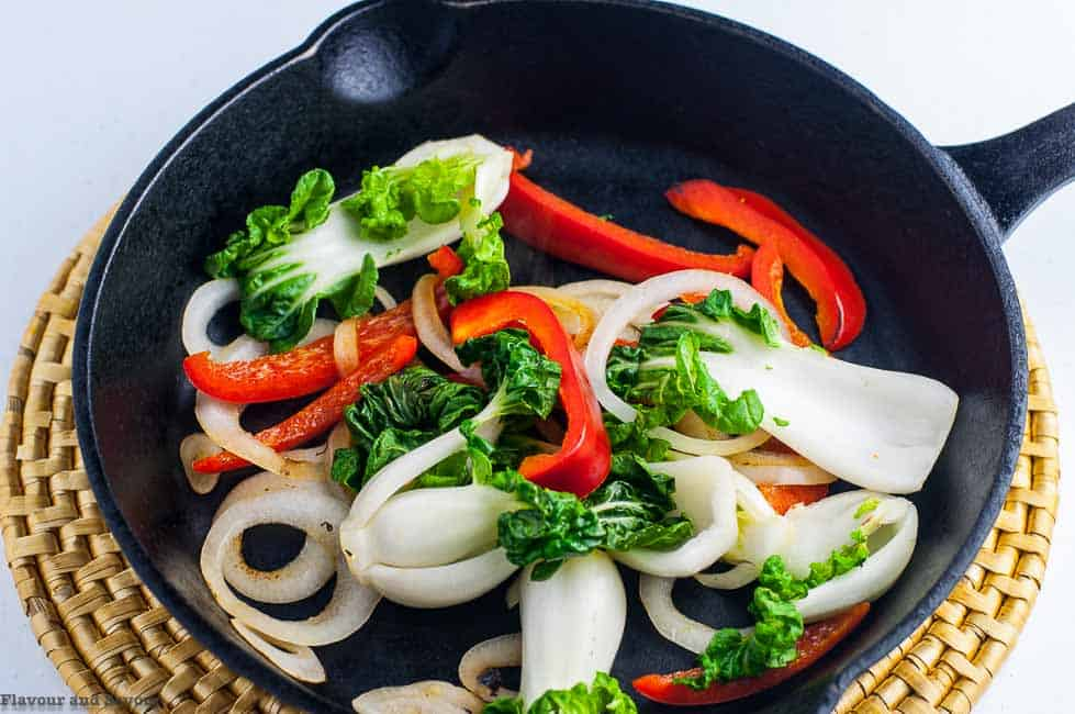 Sautéed Bok Choy and Peppers for Japanese Chicken Stir Fry