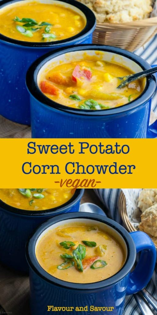 Hearty Vegan Sweet Potato Corn Chowder pin