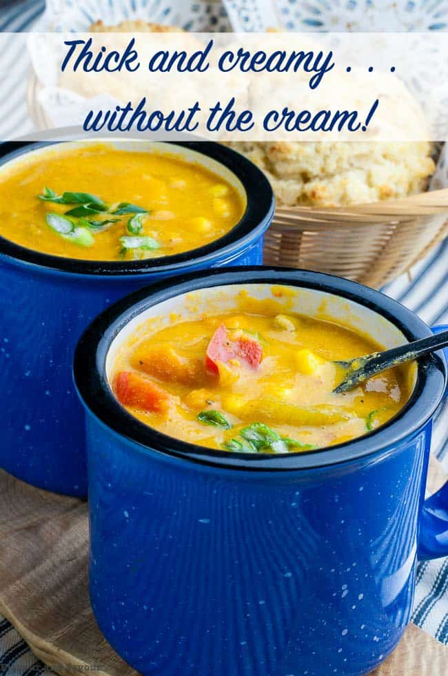 Hearty Vegan Sweet Potato Corn Chowder with Turmeric title