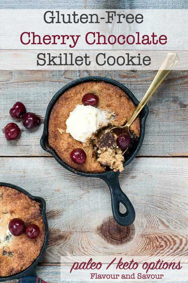 Gluten-Free Cherry Chocolate Skillet Cookie title 2