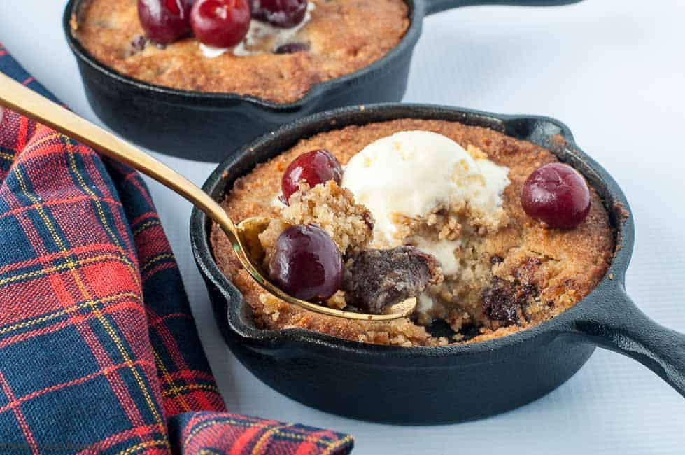 Gluten-free Cherry Chocolate Skillet Cookie