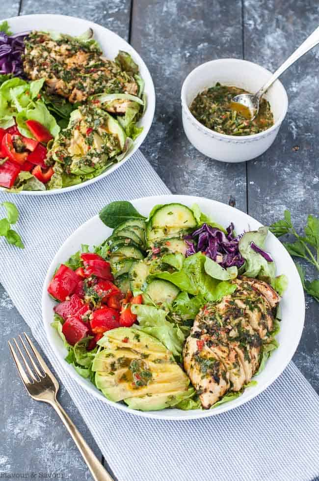 Chimichurri Chicken Dinner Salad with avocado