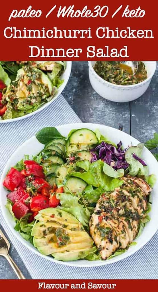 Chimichurri Chicken Dinner Salad pin