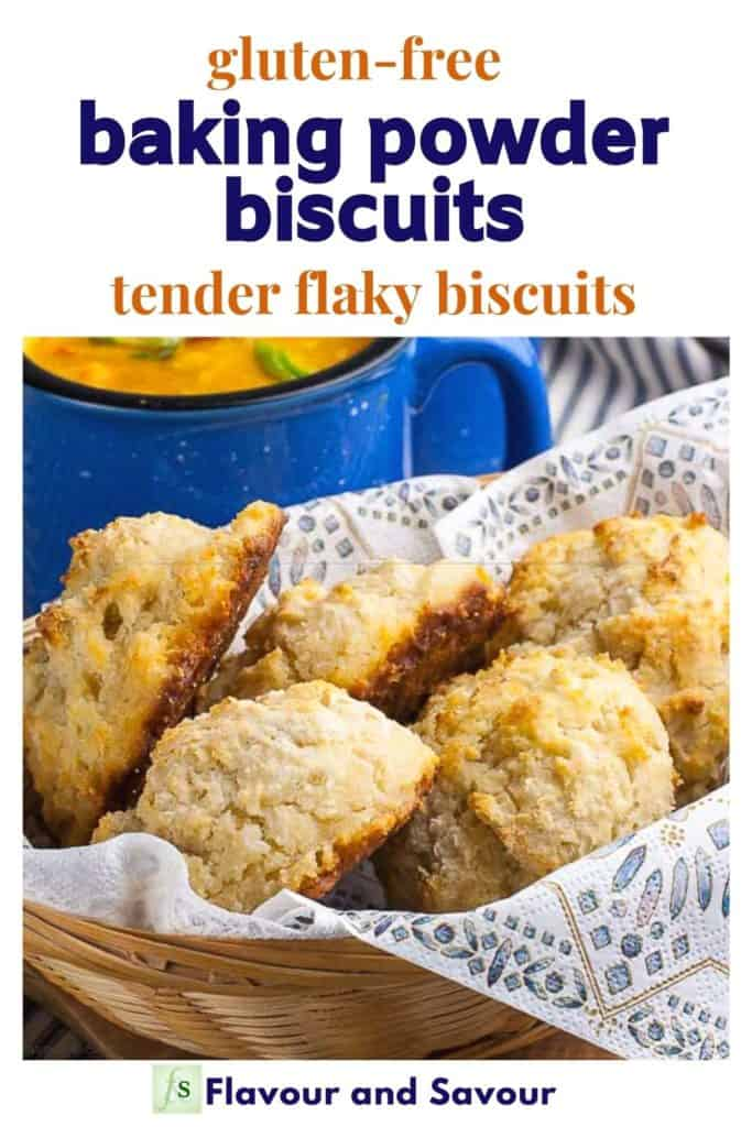 Image with text overlay Herbed Gluten-free Baking Powder Biscuits