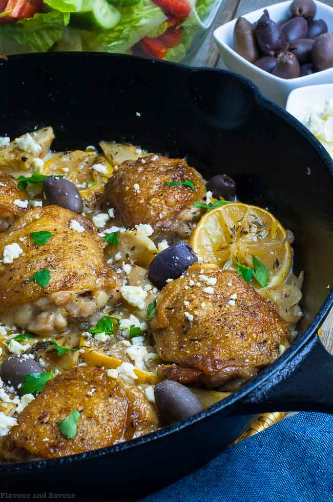 One Pan Baked Lemon Artichoke Chicken Thighs