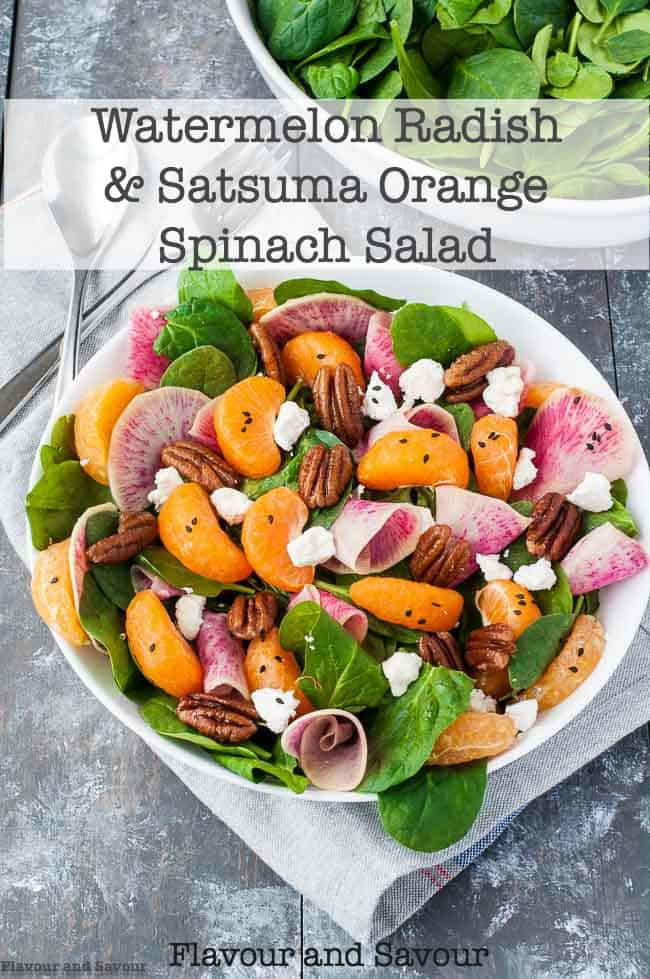 Watermelon Radish and Satsuma Spinach Salad title