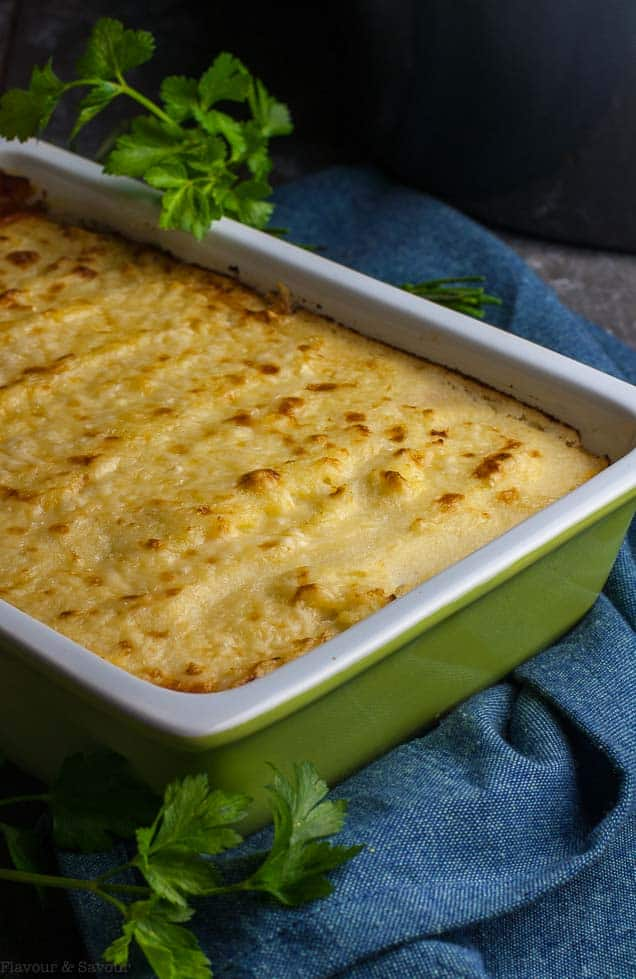 Baked Shepherd's Pie with Mashed Cauliflower Crust in serving dish