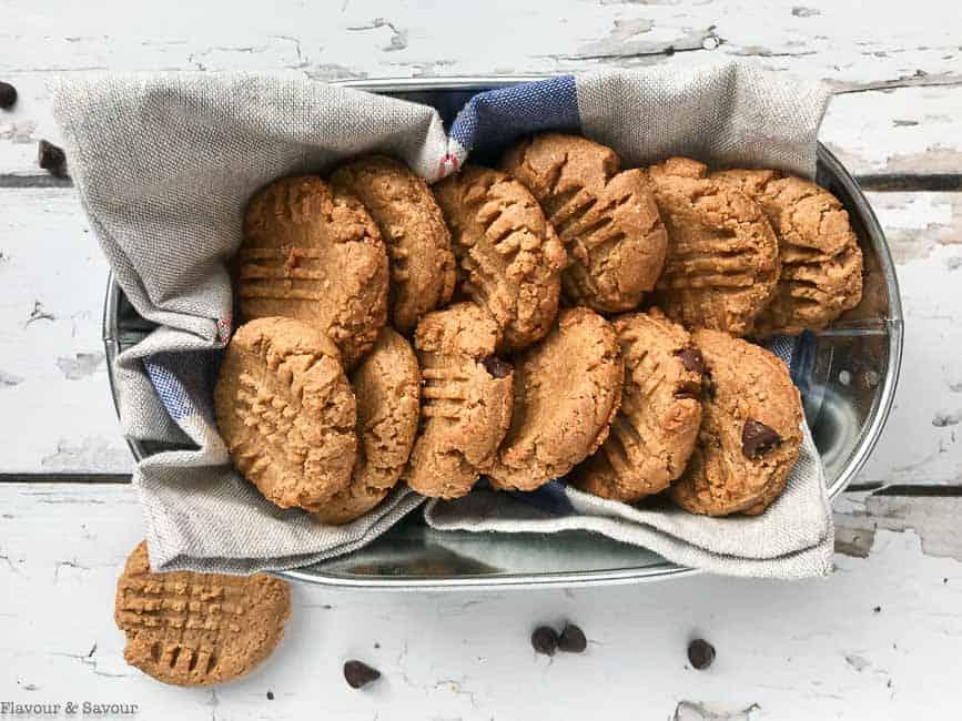 Keto Peanut Butter Cookies in a basket