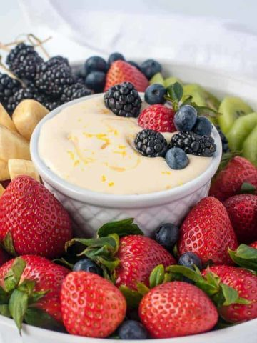 Creamy Lemon Curd Fruit Dip with berries