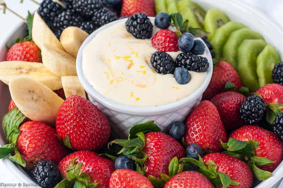Creamy Lemon curd Fruit Dip close up view