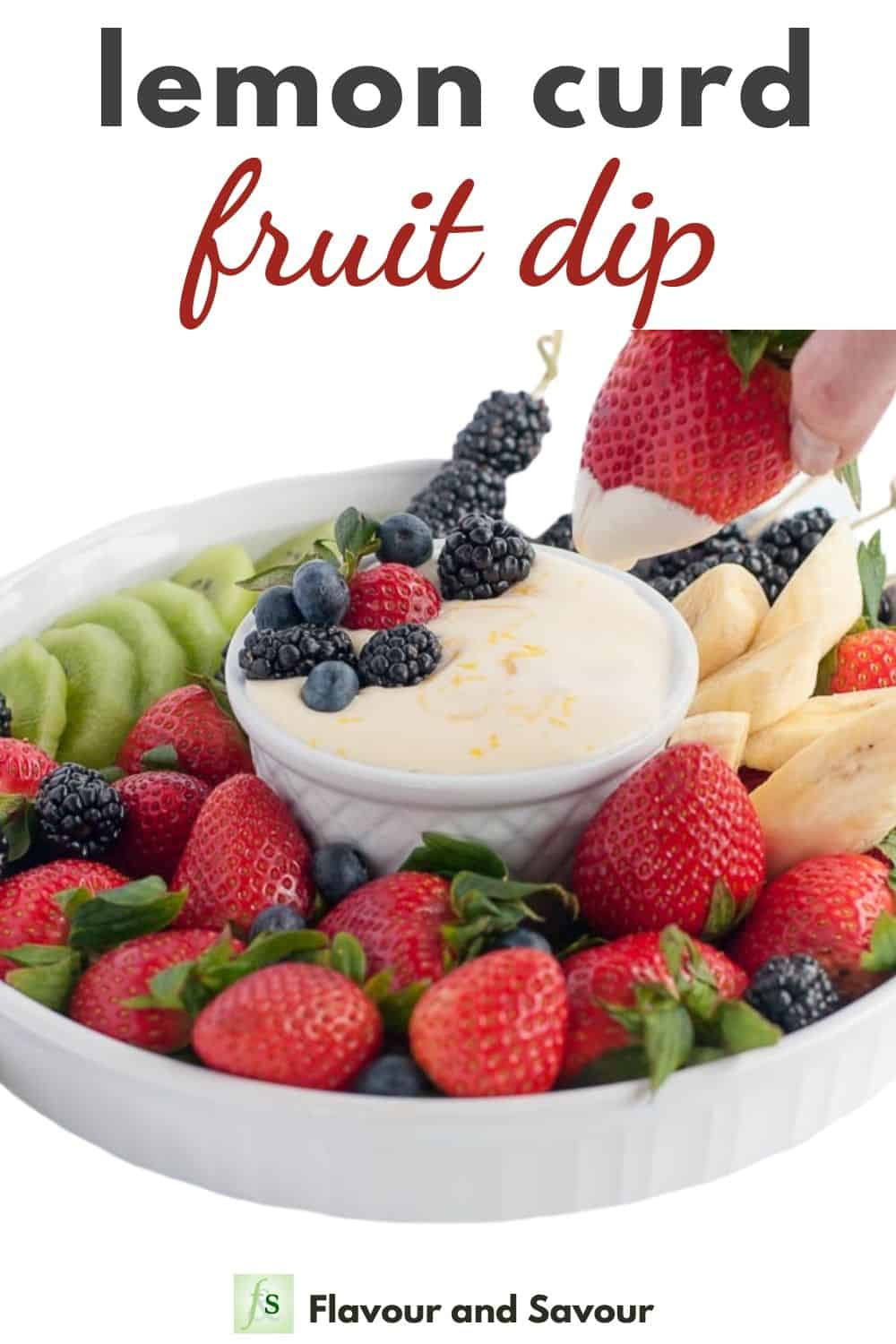 Lemon Curd Fruit Dip Pinterest image with text overlay