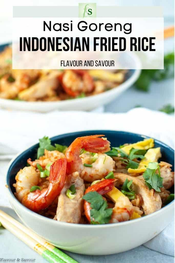 Image with text for Nasi Goreng Indonesian Fried Rice