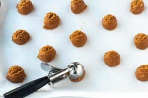 Using a cookie scoop to put Easiest Ever 4 Ingredient Peanut Butter Cookies on a baking sheet