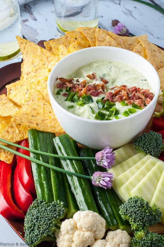 Bacon and Chive Jalapeno Dip with veggies and chips