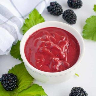 Blackberry Balsamic Dressing in a white bowl