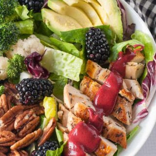 Blackberry Balsamic Grilled Chicken Salad close up view