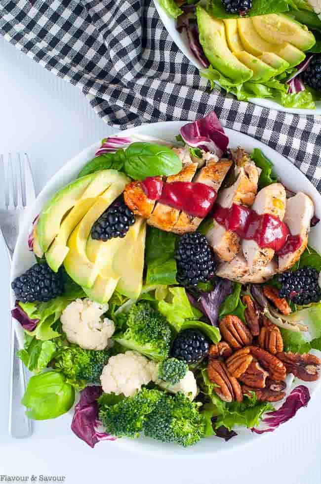 Blackberry Balsamic Chicken Salad with avocado