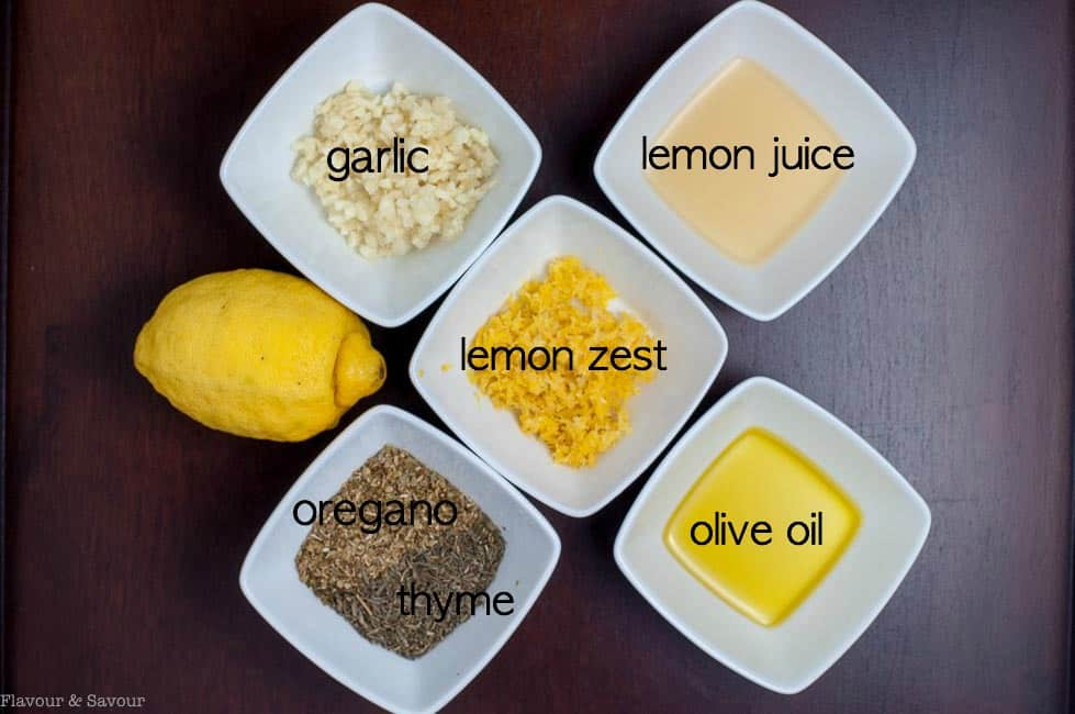Ingredients for Baked Lemon Chicken with labels