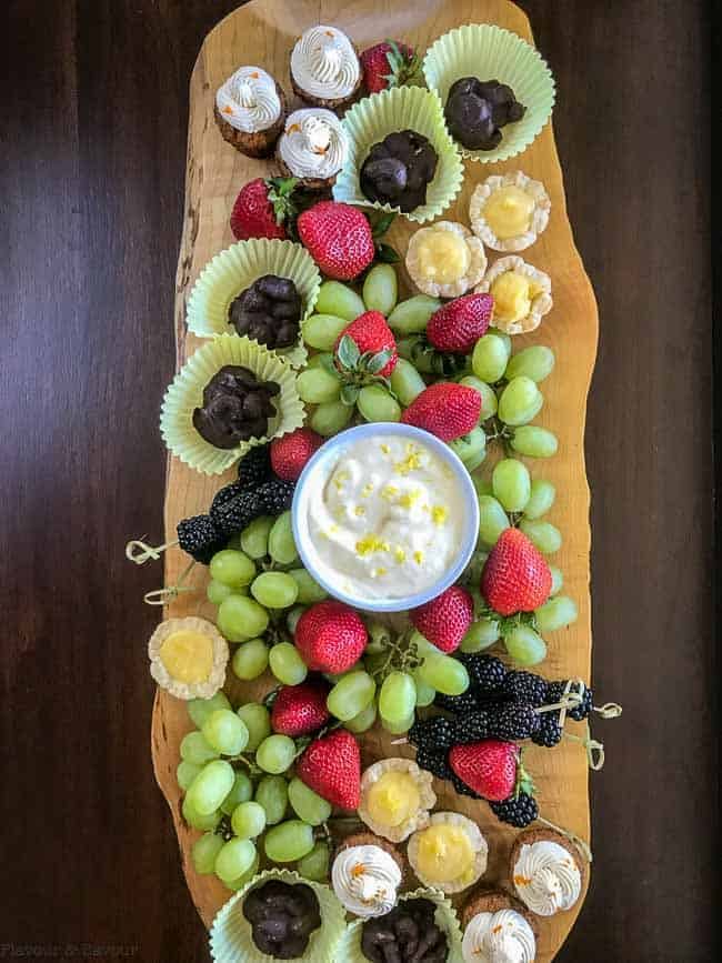 Dessert Board with Mini Desserts, Fresh Fruit and Lemon Curd Dip