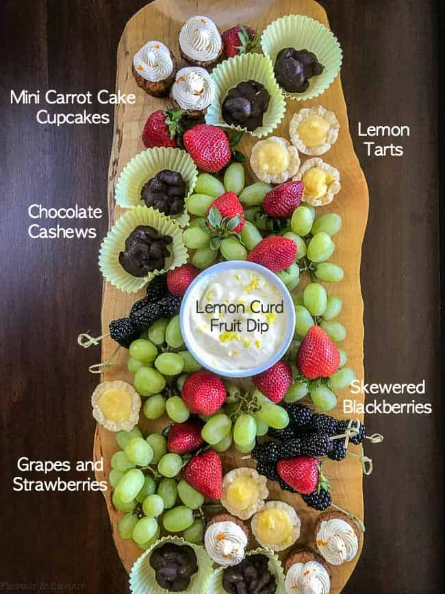 Labeled diagram of Dessert and Fruit Board