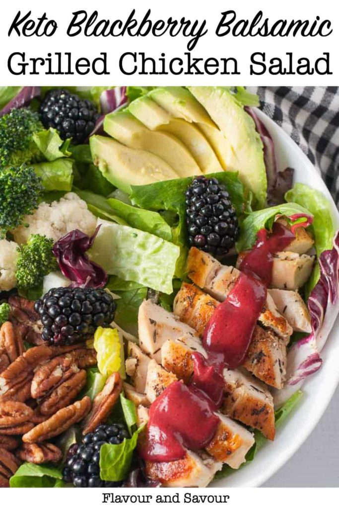 Keto Blackberry Balsamic Grilled Chicken Salad pin