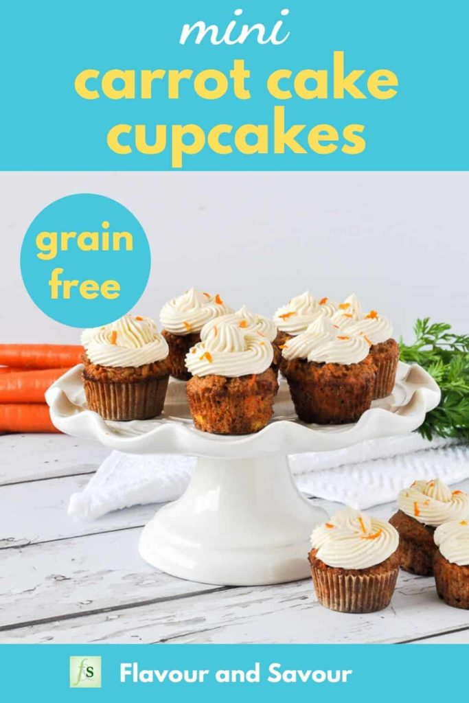 Image with text overlay for Mini Carrot Cake Cupcakes