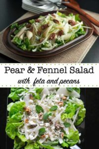 Pear and Fennel Salad with feta and pecans pin