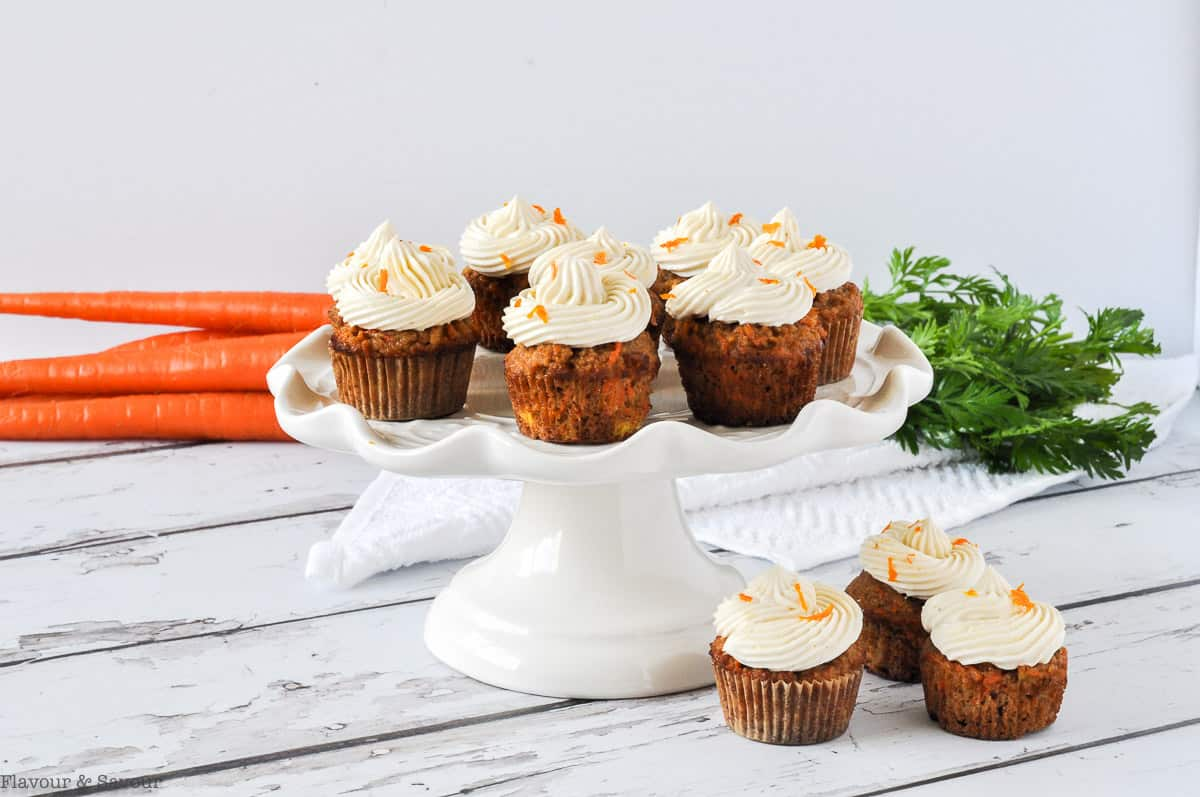 Mini Carrot Cake Cupcakes on a pedestal stand