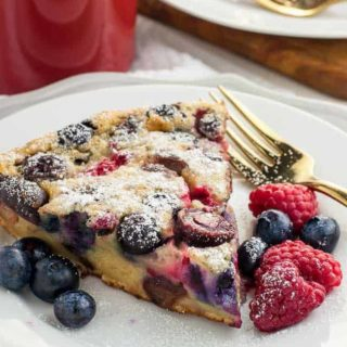 Two wedges of Gluten-Free Clafoutis with berries