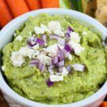 Close up view of Avocado Feta Herb Dip