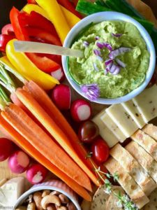 Avocado Feta Herbed Dip with crudites
