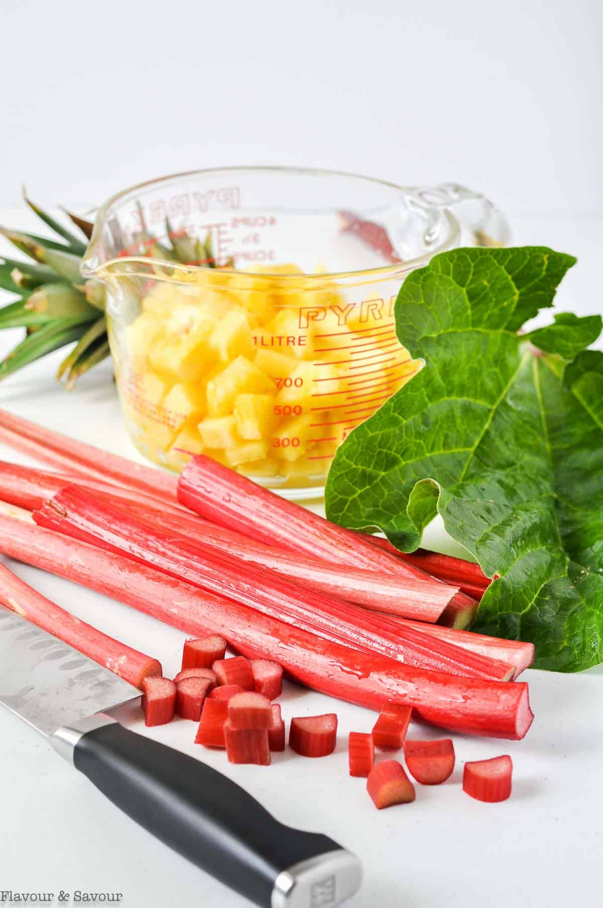 Ingredients for Pineapple Rhubarb Crisp with Ginger