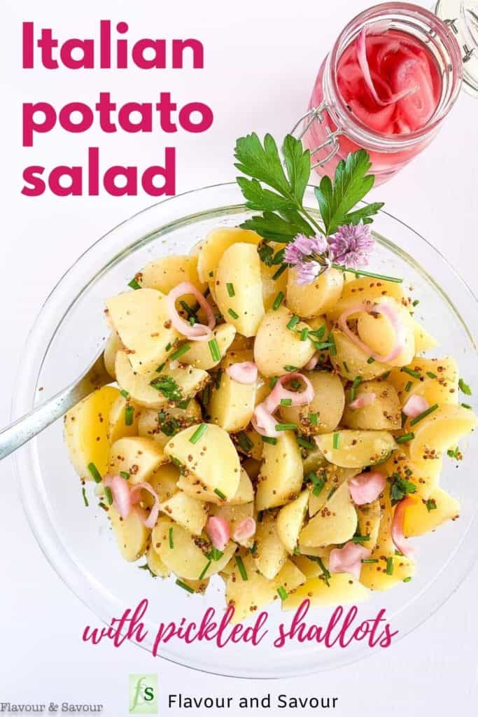 Italian Potato Salad with Pickled shallots with text overlay