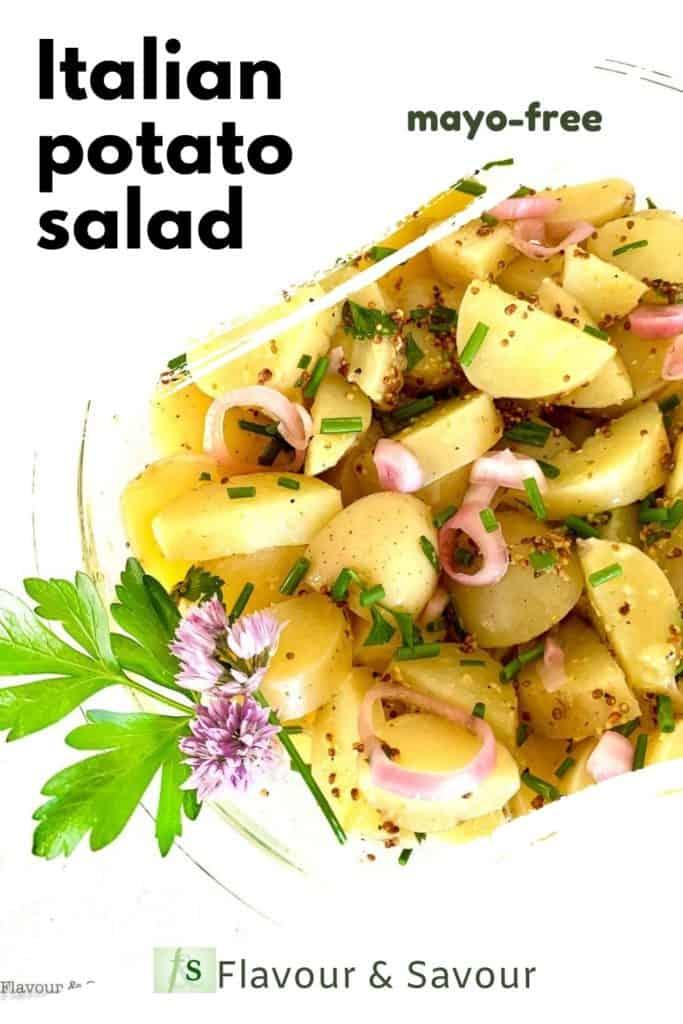 Italian Potato Salad mayo-free with text overlay