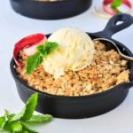 Pineapple Rhubarb Crisp in mini cast iron skillet