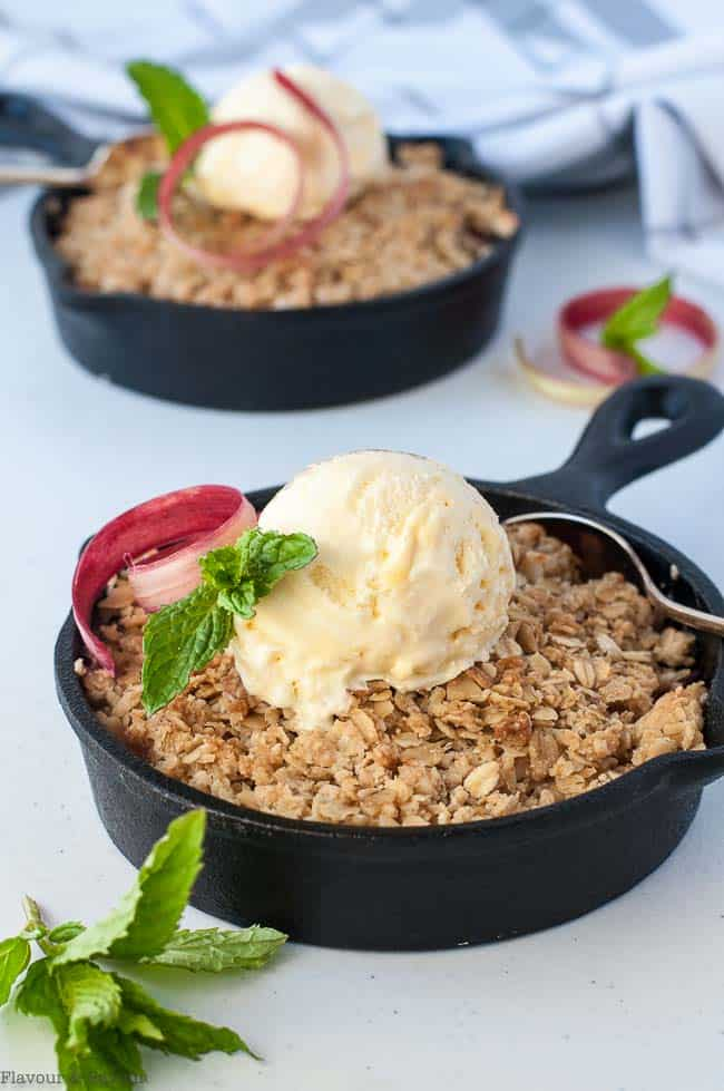 Pineapple Rhubarb Crisp in mini skillets with ice cream